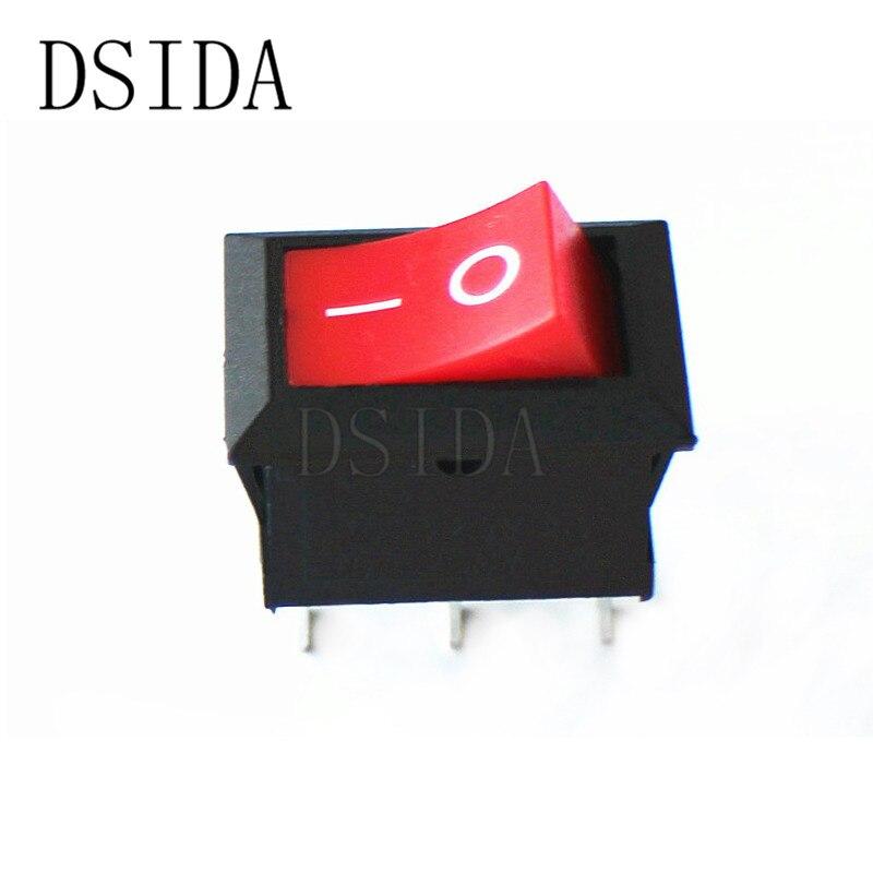 10 piezas KCD1 6A 250V 10A 125V 3Pin en 15*21mm nave tipo de interruptor interruptor basculante 15X21 rojo KCD1-101