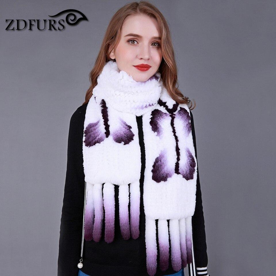 ZDFURS * marke neue hohe qualität kaninchen gestrickte schal schmetterling pelz schal weiche lange weiß kaninchen schal schal