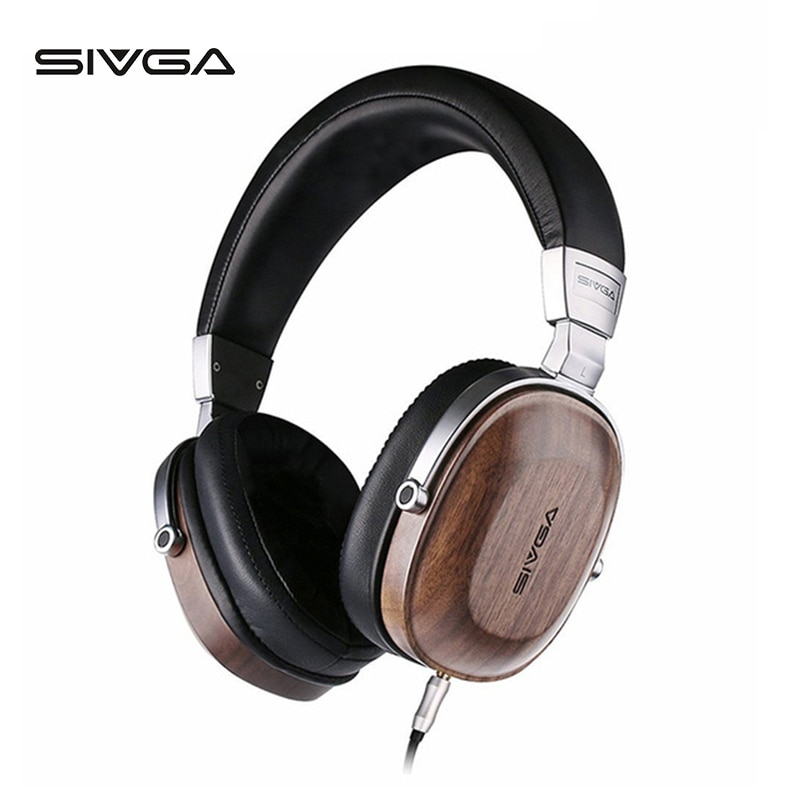 Auriculares para estudio de Monitor de madera SIVGA ss006 auriculares para DJ con micrófono Hifi estéreo 50mm plateado berilio dinámico