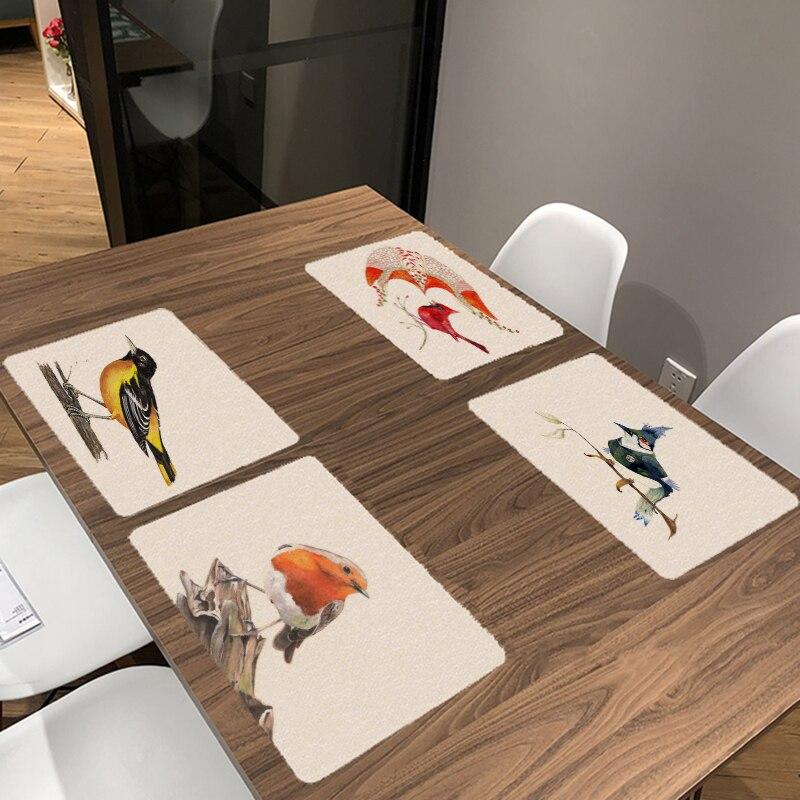 Винтажный столовый столик с птицами 32*42 см квадратная ветка дерева стол чаша тарелка подставки с изображением попугая геометрический Синий...