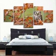 Images illustrations modulaires pour salon   Photo abstraite 5 panneaux de hibou dautomne cadre décoratif mural HD affiche peinture sur toile