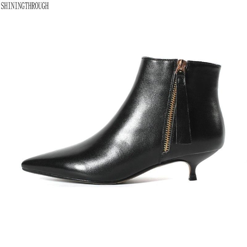 Nouveau cuir de vache talons bas femmes bottines noir blanc bureau dames chaussures habillées printemps automne bottes femme taille 41 42 43