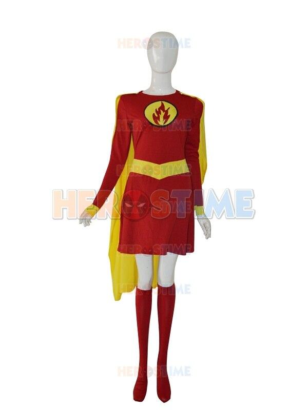 Disfraz de Supergirl personalizado rojo y amarillo femenino Spandex superman superhéroe disfraz