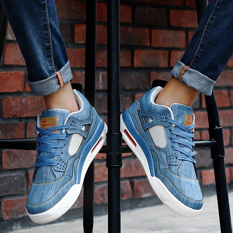 Calzado de lona para hombre, zapatos vulcanizados de invierno para hombre, zapatos de mezclilla con movimiento para hombre, zapatillas de deporte para hombre de color blanco
