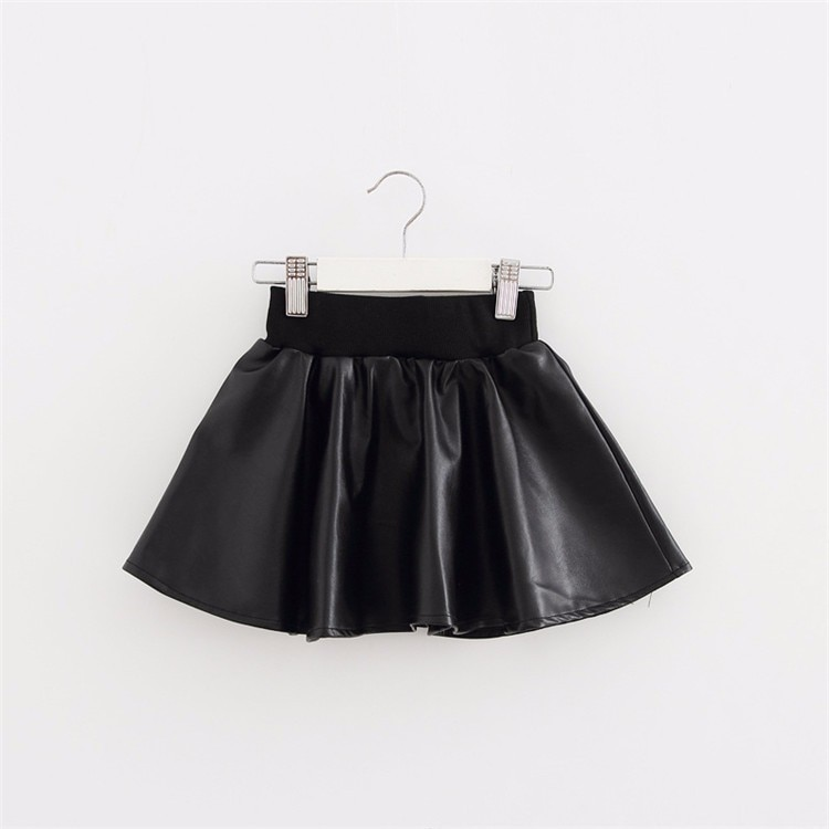 Юбки для девочек модные изделия из искусственной кожи кофта эластичная резинка на талии юбка-пачка для маленьких девочек осенние черные коротке юбки для маленьких девочек детская одежда