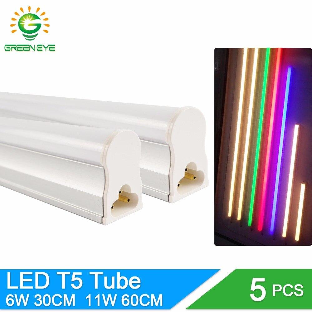 Greeneye 5 pçs/lote integrado led t5 luz 220v 0.3m 6 w/0.6m 11 tubo lâmpada t5 led branco frio quente luzes fluorescentes néon 10 w