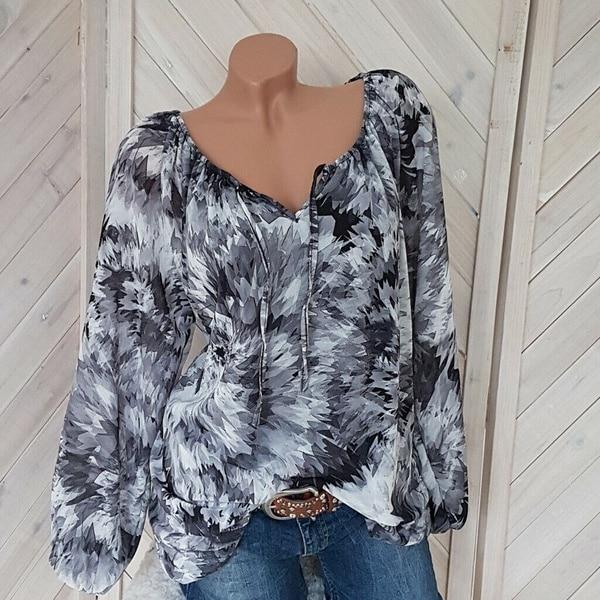 Plus size 5xl topo blusas femininas casual praia manga longa camisa solta verão blusa preto impressão de tinta blusa v pescoço das mulheres roupas