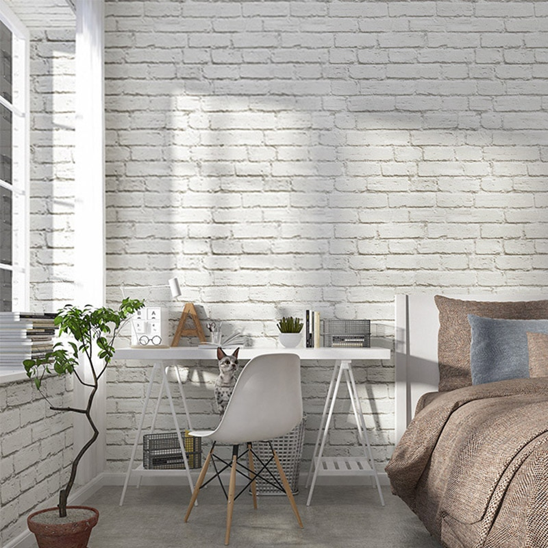 Papel pintado de ladrillo blanco rollos de papel de pared de PVC Simple moderno 3 D para sala de estar barbería tienda de ropa restaurante telón de fondo pared