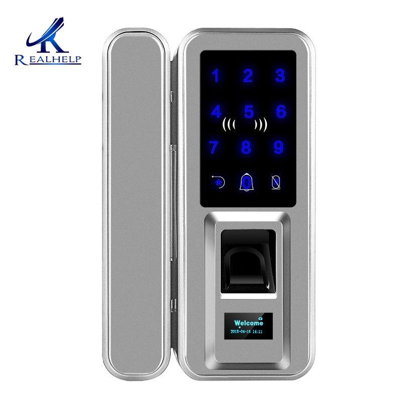 Cerradura biométrica de doble huella dactilar, puertas de vidrio, cerradura biométrica de puerta, cerradura Digital de contraseña para oficinas y casas