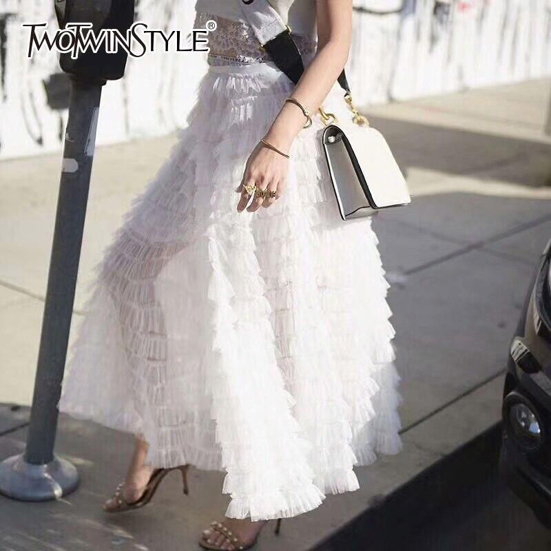 Falda de malla TWOTWINSTYLE para mujer, cintura alta, volantes de proa elásticos, Patchwork, faldas Maxi de verano, moda femenina 2020, ropa dulce