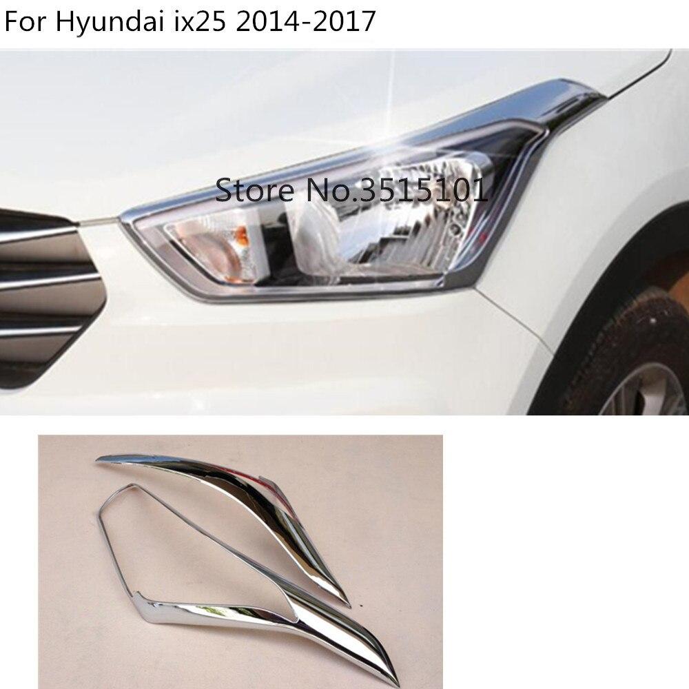 Marco de moldura para capó de faro delantero de coche, capó embellecedor de cubierta cromada ABS 2 uds para Hyundai Creta IX25 2014 2015 2016 2017