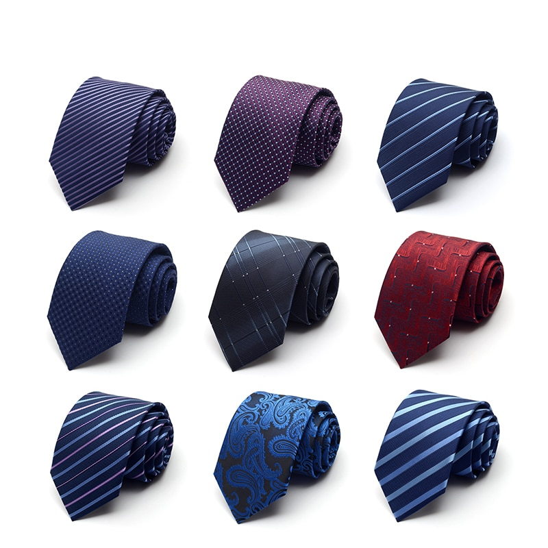 2019 New High Quality Men Ties Fashion Brand Silk Business Formal Casual Party Ties For Men Polka Dot 8CM Necktie with Gift Box