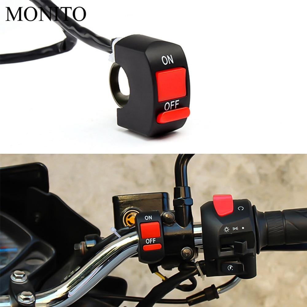 Para yamaha xt 600 mt10 mt 09 tracer suzuki drz/ltz 400, interruptor de manillar de botón para motocicleta, interruptor de luz LED