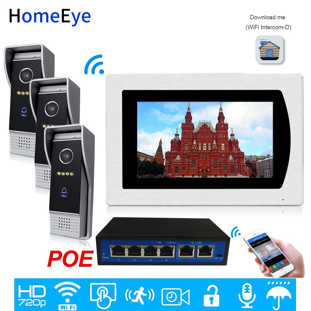 Wifi Video Intercom Smart Phone App Unlock IP Video Door Phone 3 Doors Home Access Control System Motion Detection Touch Screen