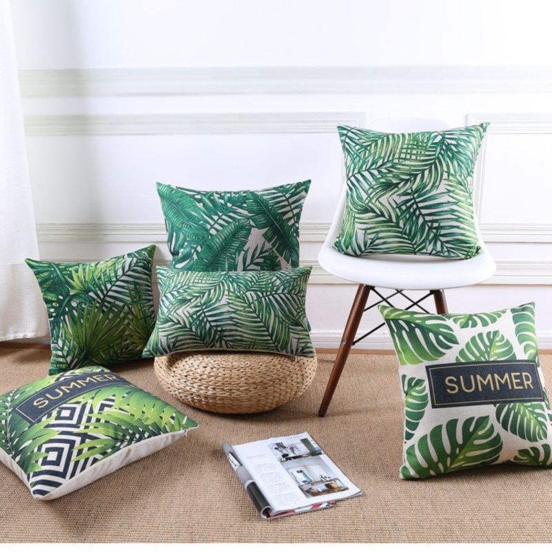 De alta calidad de verano selva Tropical hojas verde jardín impreso cojín de silla de coche sofá funda de cojín de decoración para hogar
