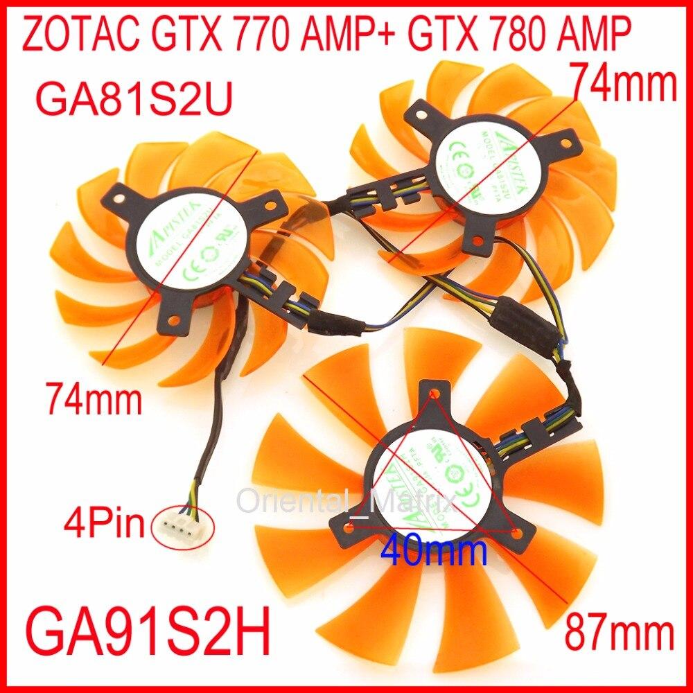 3 unids/lote APISTEK GA91S2H GA81S2U 12V 4 cables 4Pin para ZOTAC GTX 770 AMP + GTX 780 AMP tarjeta gráfica ventilador de refrigeración