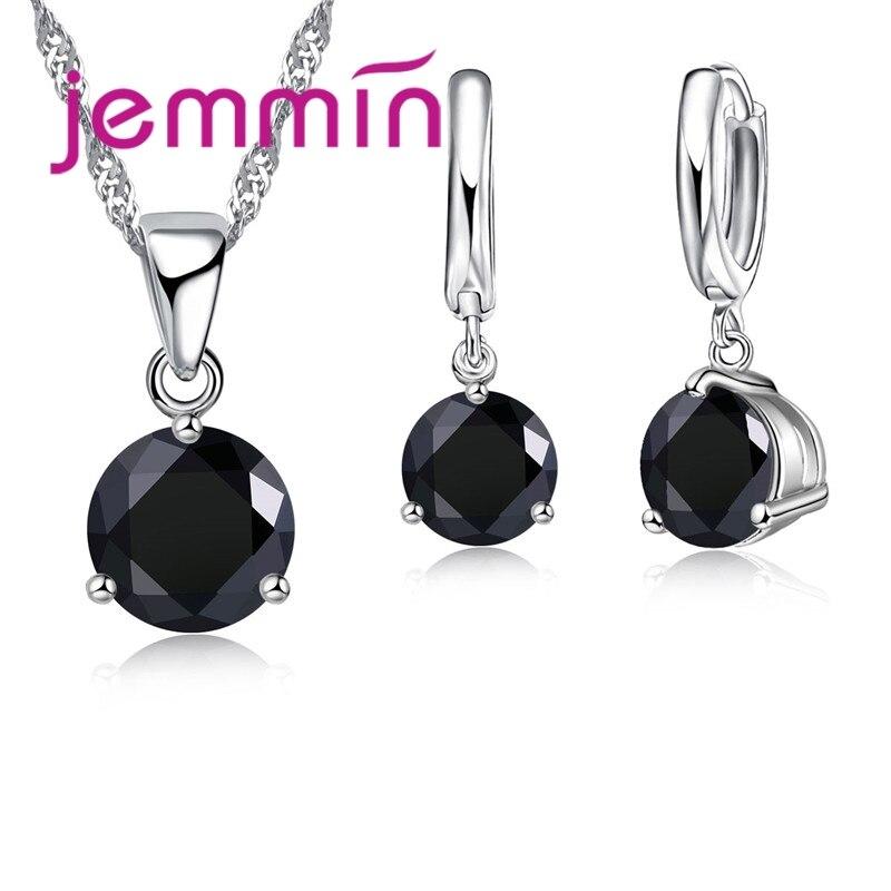 Livraison rapide 925 en argent Sterling mariages/Engagements collier pendentif boucles doreilles ensembles pour les femmes bijoux de mode