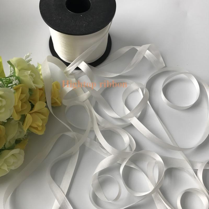 Лента из натурального шелка, 7 мм, 50 м, 100 м, 200 м в рулоне, белая, Неокрашенная, для вышивки и рукоделия, бесплатная доставка