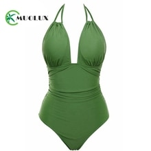 MUOLUX 2020 Women Vintage Dots One Piece Swimwear Backless Tummy Control Monokini Swimsuit Halter Push up Bathing Plus Size 4XL