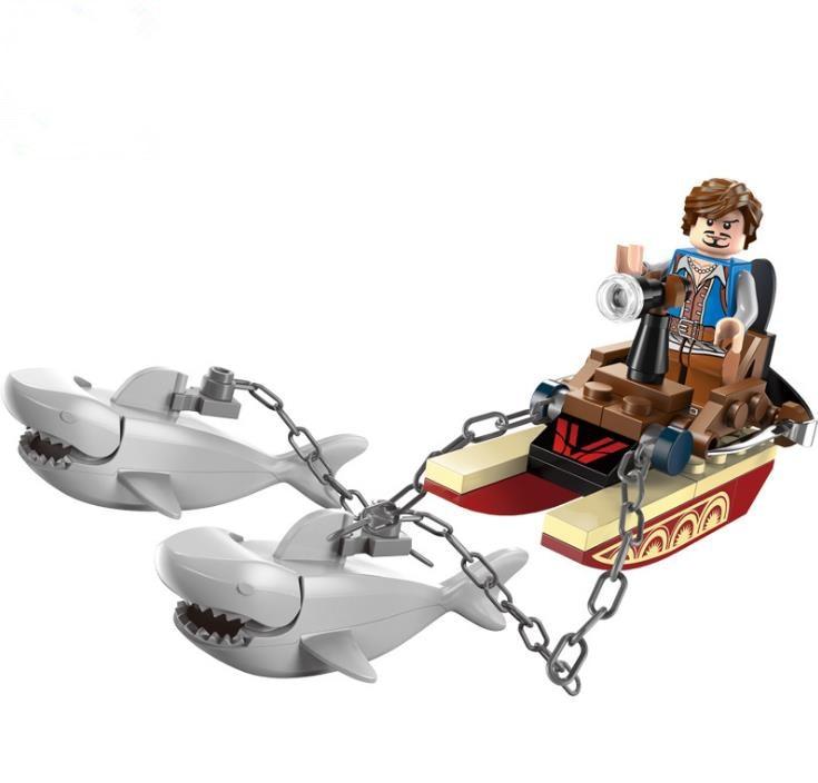 Iluminar 1302 piratas série tubarões contingente bloco de construção conjunto crianças tijolos educacionais modelo brinquedo para crianças