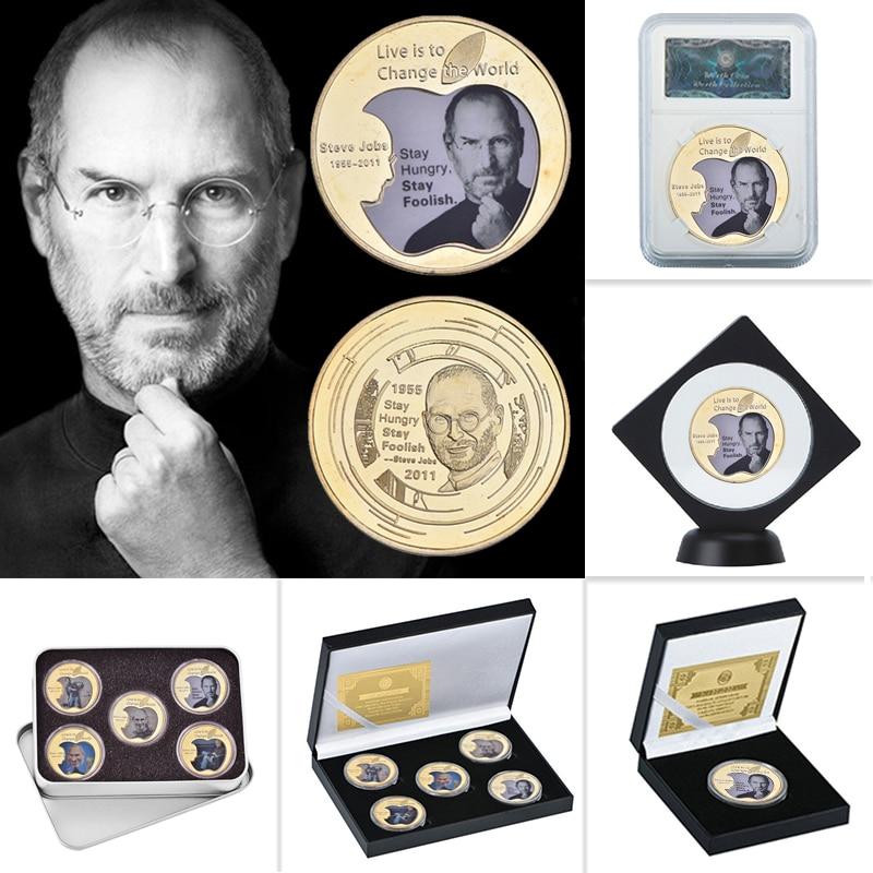 WR Steve Jobs oro coleccionables monedas con moneda titular nos desafío moneda Original monedas de Metal personalizado regalo Dropshipping. Exclusivo.