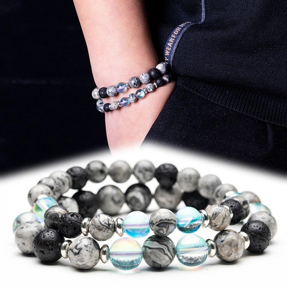 Pulsera con cuentas de piedra Natural de cristal transparente para parejas de mujeres y hombres, joyería para mejor amiga y hermana de 8-10mm