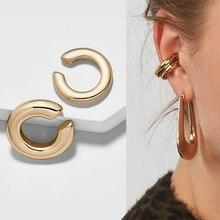 2 unids/set 2019 nuevo diseño pequeño y dorado y gran Clip pendientes sin piercing para mujer todo a juego pendiente de Clip de oreja redonda