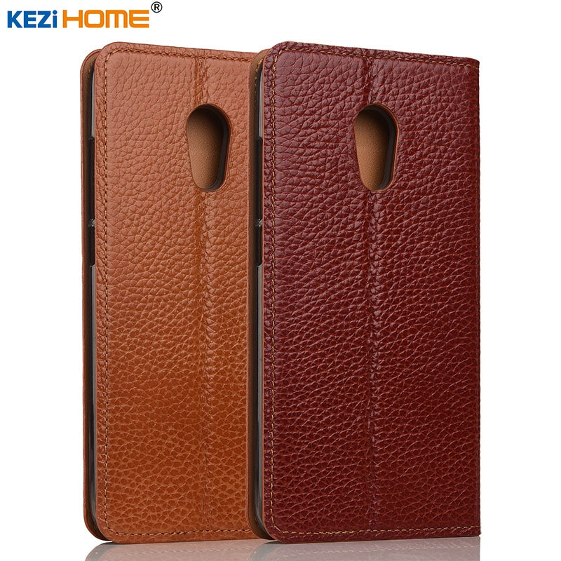 meizu 6 pro caso kezihome litchi genuine leather flip tampa do suporte de couro casos