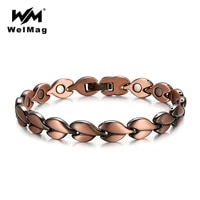 welmag pure copper magnetic therapy bracelets bangle for women bio energy fish design magnet copper femme charm bracelet jewelry