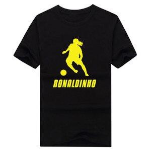 2018 Legends Ronaldo de Assis Moreira T shirt Fashion mens  100% cotton short sleeve Ronaldinho shadow T-shirt 0112-1