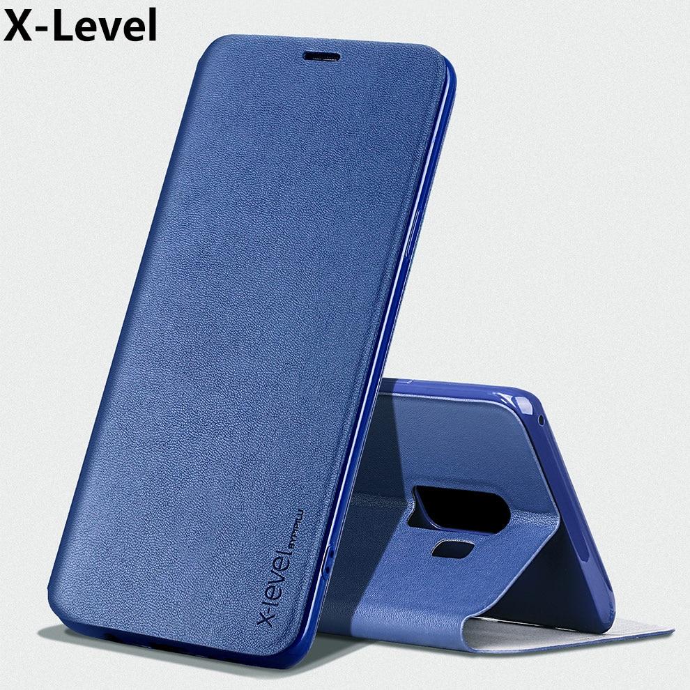 Funda x-level para Samsung S9 Plus, funda de lujo de cuero PU, de TPU de silicona suave funda protectora, funda de teléfono con tapa para S9