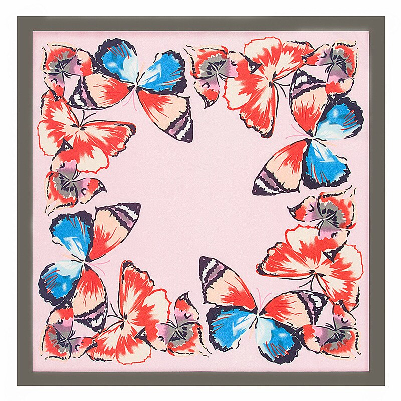 Menglinxi 60cm * 60cm 2020 marca de luxo primavera novo estilo borboleta impressão sarja feminino lenço de seda pequenos lenços quadrados bandana