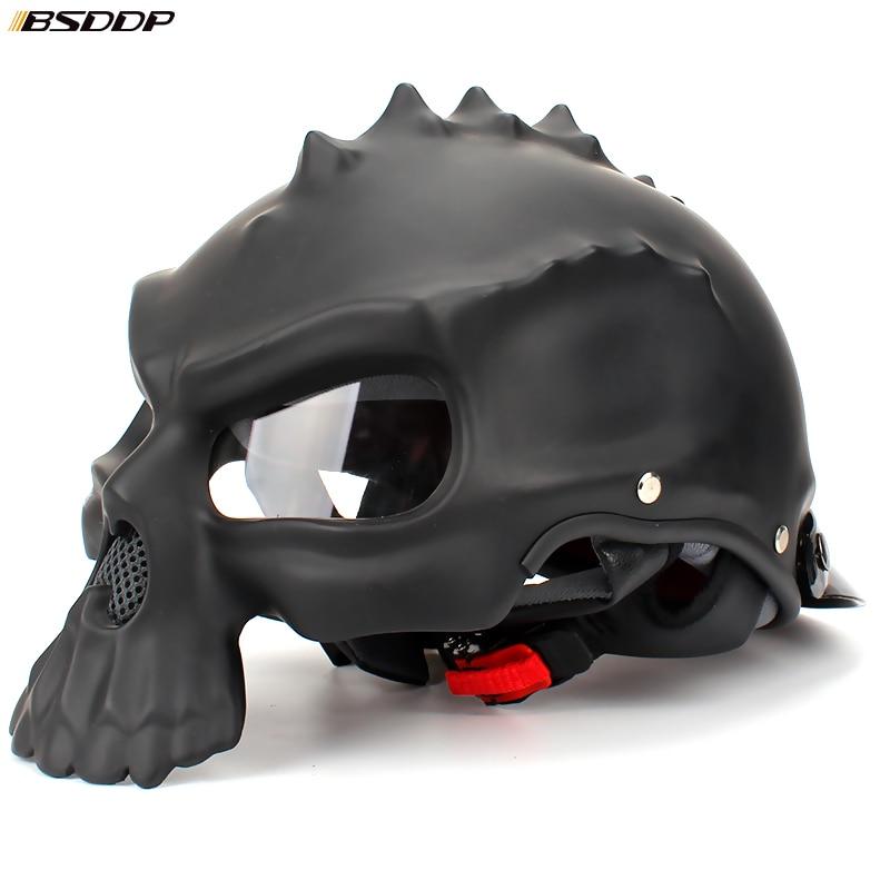 Nueva personalidad moda doble uso Casco motocicleta calavera media cara cascos capables Casco Retro Casco para KTM Harley
