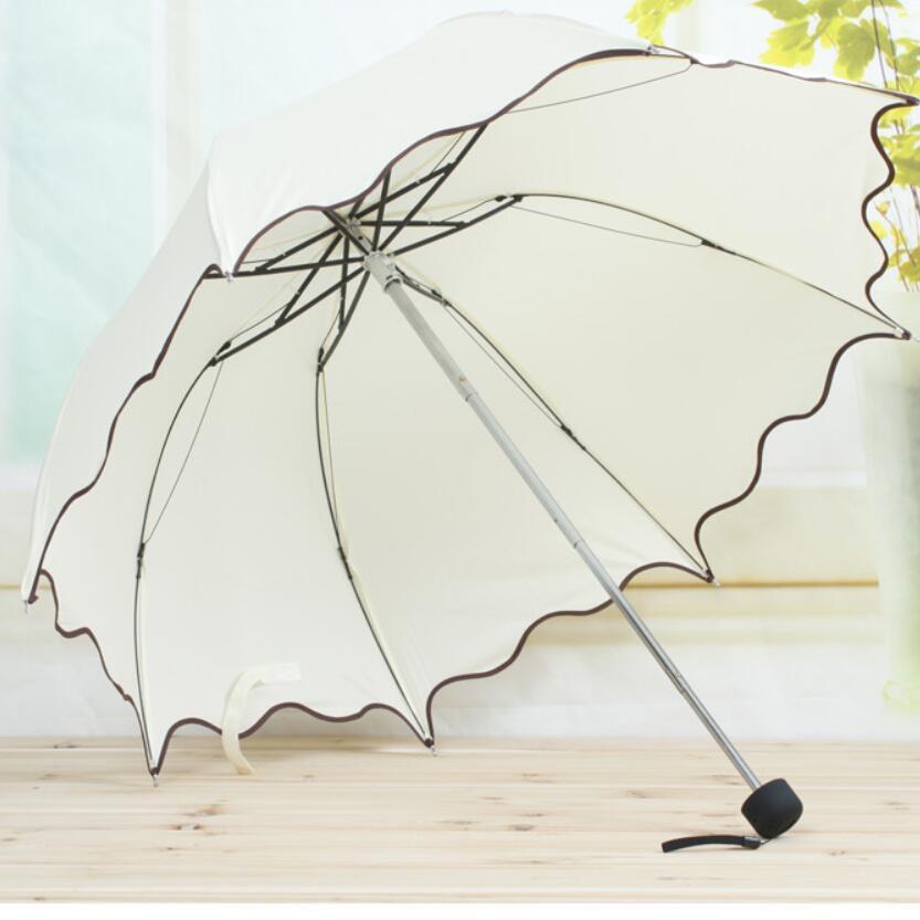 Hot Sale Cute Korean Folding Umbrella Rain Women Beautiful Pure Color Pink Blue Red Umbrellas Girl Paraguas Plegable Mujer US001