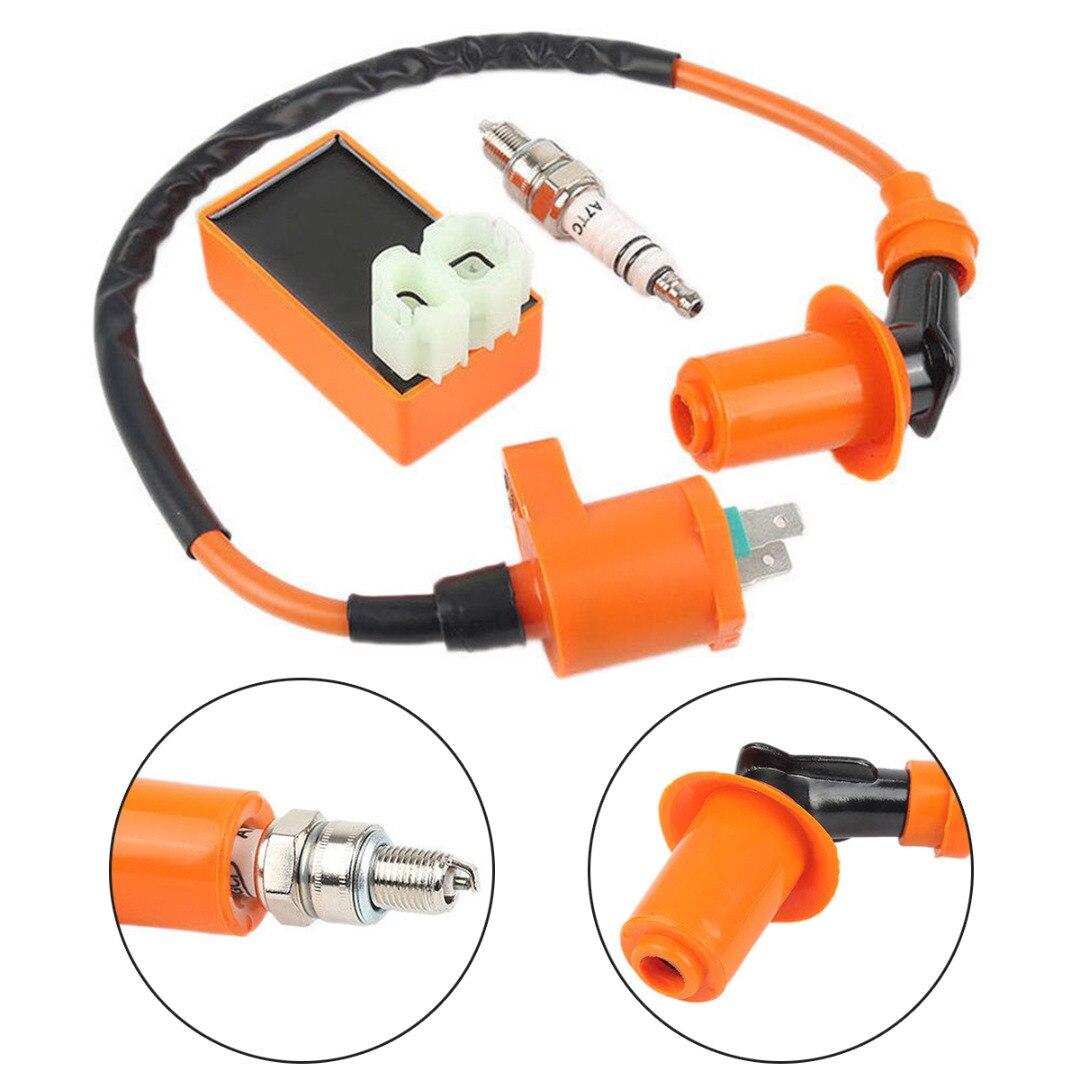 Nueva llegada 1 Set Racing CDI caja + chispa Plug + bobina de encendido para GY6 50/125/150CC de 4 tiempos, piezas de Scooter