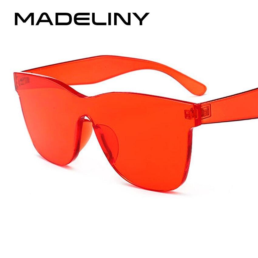 Женские квадратные солнцезащитные очки MADELINY, брендовые дизайнерские солнцезащитные очки без оправы, яркие оттенки, модель MA105, 2018