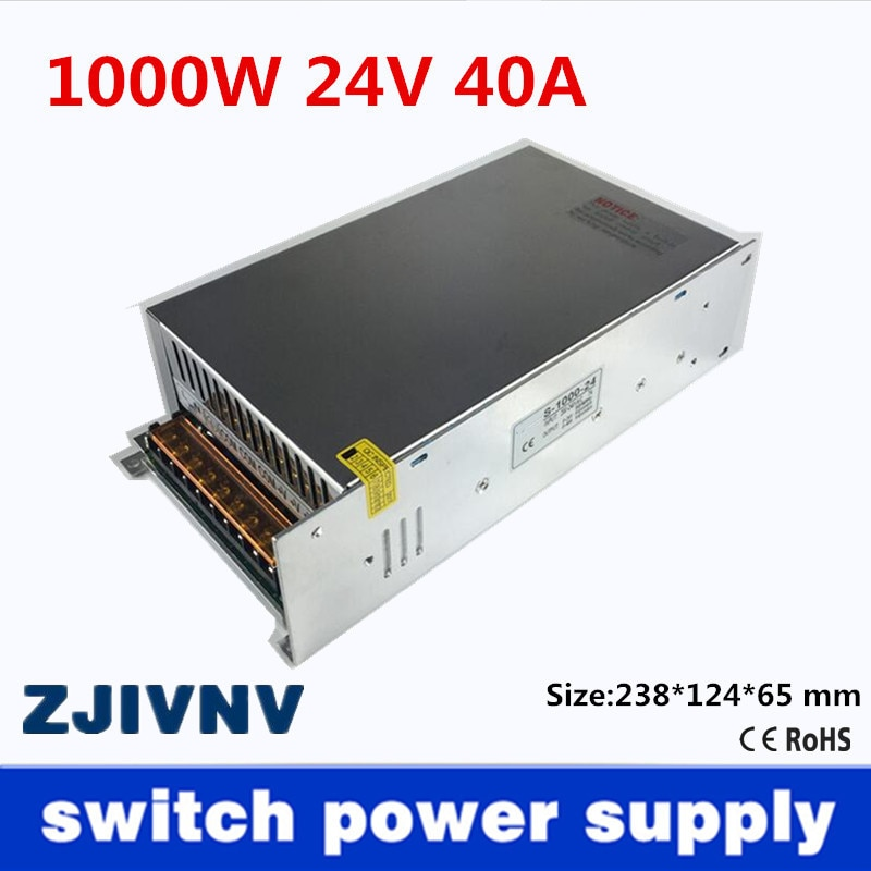 Small Volume Single Output 1000W 24V 40A Switching Power Supply Transformer AC110V or 220V TO DC SMPS for LED Light CNC Stepper