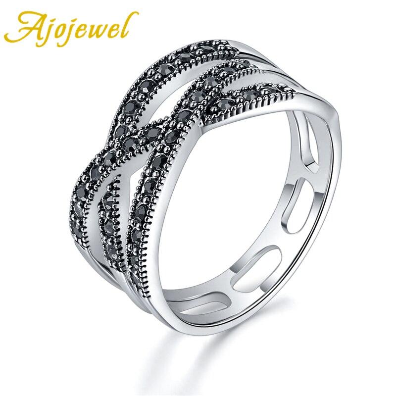 Ajojewel, Tamaño 7-9, negro, púrpura transparente, rojo, Anillos geométricos de diamantes de imitación para mujer, Anillo Vintage para mujer