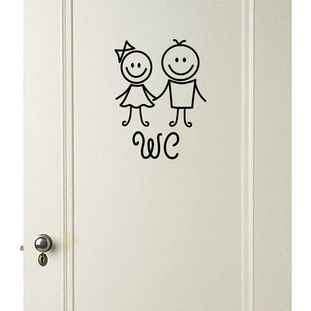 Adhesivo de pared hombre mujer niños extraíble lindo lavabo, inodoro pegatina para aseos familia DIY decoración decoraciones para el hogar