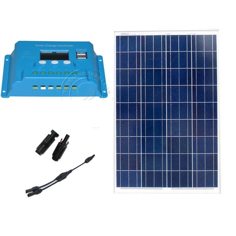 Waterproof Polycrystalline Solar Module 18v 100w Solar Charge Controller 12v/24v 10A LCD Caravan Car Battery Camp Motorhome