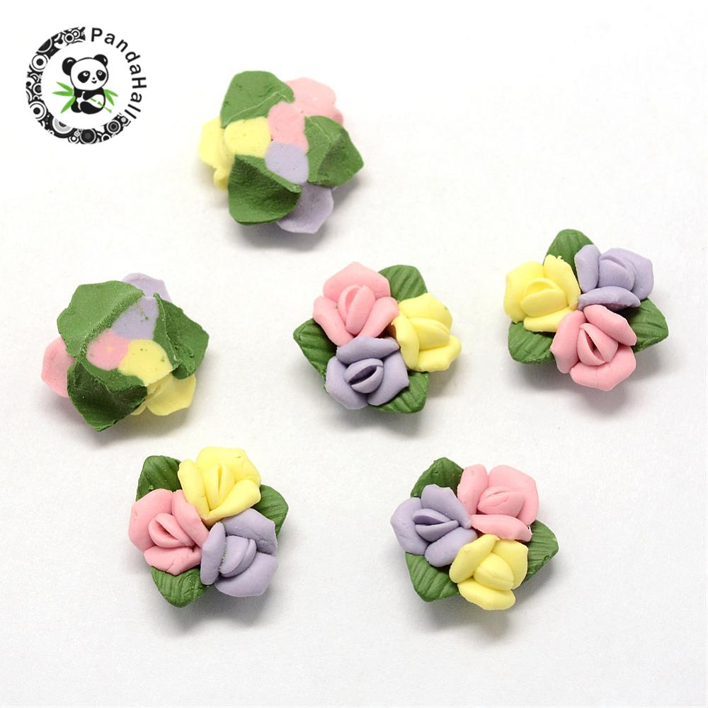 Cabochons de porcelana artesanal, grânulos de argila de china, flor, rosa, 16 1818x15 1616x7 8 8mm