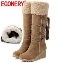 Egonery doce menina quente ao ar livre inverno primavera pelúcia joelho botas de neve alta preto bege amarelo grande tamanho 34-43 mulher cunha sapatos