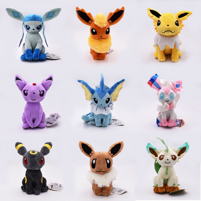 Плюшевые игрушки Kawaii Eevee, мягкие игрушки с рисунками животных из аниме, детские игрушки для детей, подарок на день рождения, 9 шт./компл., бесплатная доставка