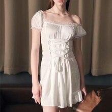 Европейский стиль, женское платье с вырезом лодочкой, однотонное белое платье на завязках, на шнуровке, ТРАПЕЦИЕВИДНОЕ мини-платье с открытыми плечами, винтажное платье-рубашка с рукавами