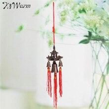 KiWarm-cloche de toit rétro bouddhiste   Carillons éoliens suspendus, Temple porte-bonheur, Feng Shui artisanat nœud chinois, bénédiction pour voiture, cadeau de décoration de la maison