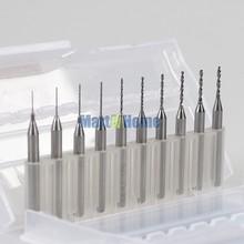 Argedo 10pcs CNC PCB Print Circuit Board End Mill Drill Bits SHK 3.175mm 0.25-1.15mm, 0.3-1.2mm,0.6-1.5mm, 1.1-2.0mm,2.1-3.0mm