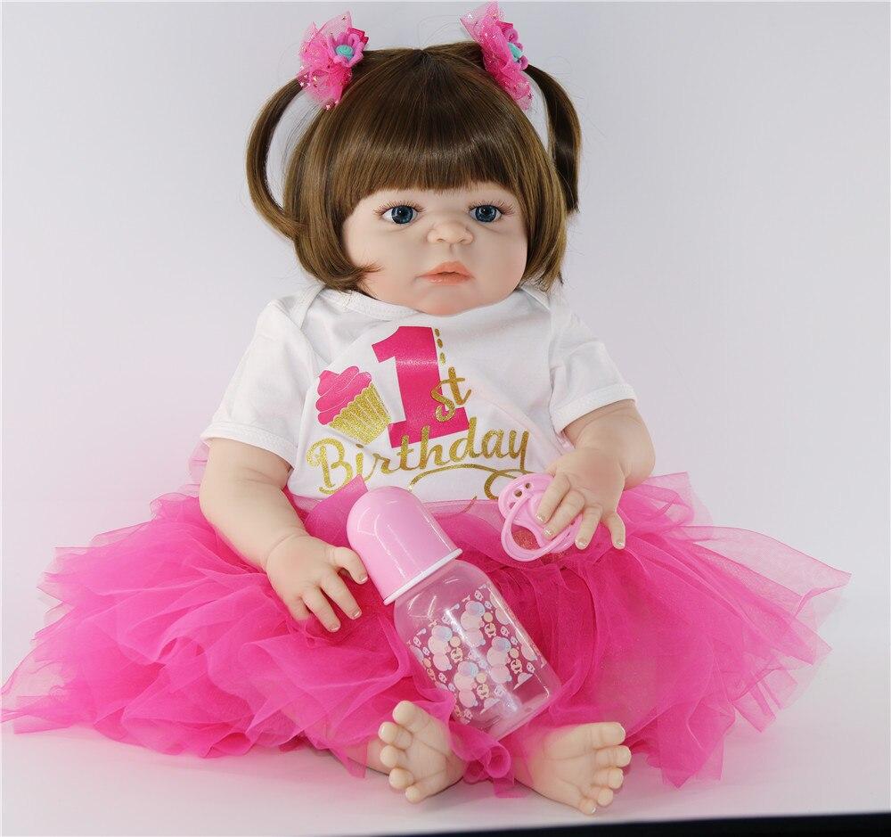 "Muñecas reborn de silicona, juguetes para niños, regalo de Navidad, 23 ""57cm NPK bebes reborn, corpo de silicona inteiro realista, muñecas"