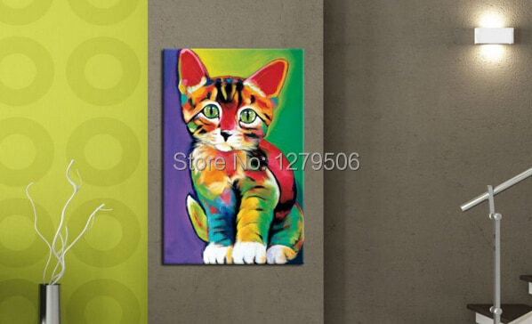 100% pintado a mano moda precioso gato mano pintura al óleo sobre lienzo variedad de colores
