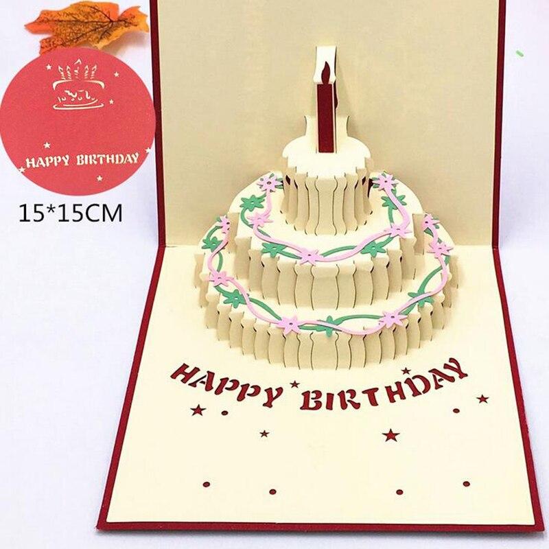 1 Uds. Tarjeta para regalo de feliz cumpleaños, tarjetas de felicitación 3D Pop Up pastel con sobre, tarjeta postal, invitación hecha a mano Origami, decoración de aniversario