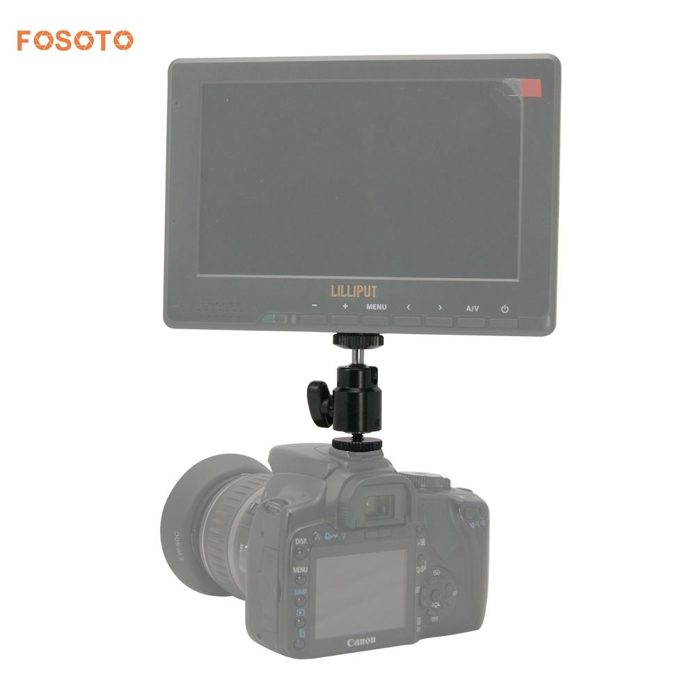 Fosoto nuevo adaptador para trípode de cámara Anillo de luz LED soporte tipo rótula para Flash montaje 1/4 Adaptador de zapata cuna cabeza de bola con cerradura